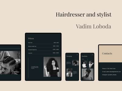 Website for Hairdresser and stylist сайт черный ux design стилист ui
