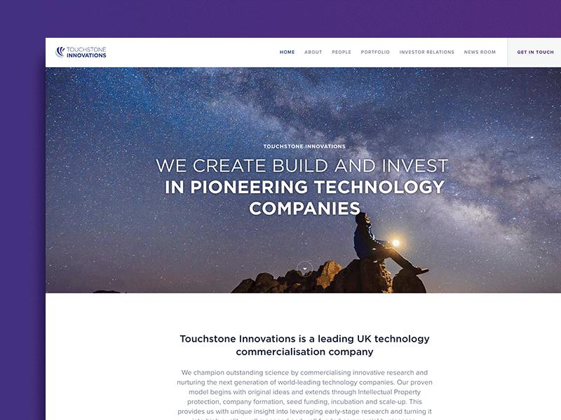 Web Design: Touchstone Innovations sans serif brand design rebranding branding tech technology purple website website design web design ux ui