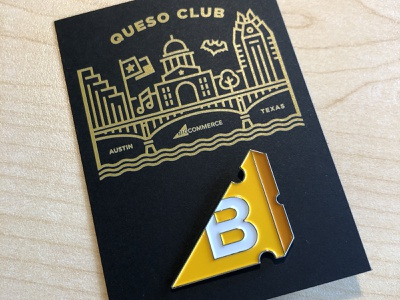 BigCommerce Queso Club // Enamel Pin illustration logo branding product design ecommerce austin texas