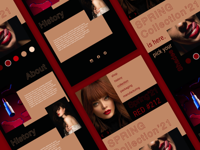 Lipstick store concept design adobe xd red illustration ux 3d 2d hero section product branding figma photoshop design uidesign store lipstick website web page website web design branding graphic design ui