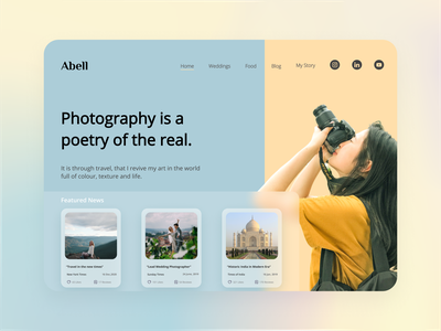 UI/UX Web Design-Photography Website vector typogaphy modern adobe illustraion clean uxdesign uidesign photographer photography photoshop landingpage landing page design website design webdesign branding ui uiux figma design