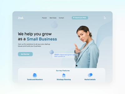 Online Business Marketing Site ZEAL -UI/UX Web Design growth clients typogaphy figma desktop vector logo landingpage uxdesign illustration business management landing page ui landing page web designer freelancer webdesign website design business marketing branding