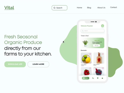 UI Animation Organic Produce Suplier Website- Vital smart animate uianimation webdesign ui animation mobile ui mobile app website food illustration typogaphy supplier organic food online store shopping app uxdesign landing page design branding online shopping online shop figma website design
