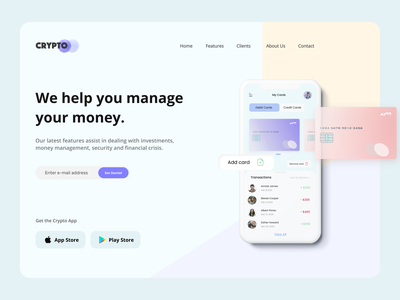 Crypto Banking Website   -UI/UX Web Design trendy design minimalism pastel color iphone11pro mockups 3d art landing page design crypto wallet bank app adobexd figma uxdesign typography vector illustration landingpage website design webdesign ui uiux