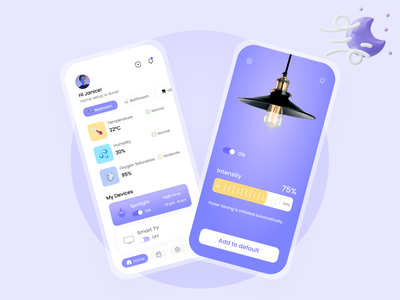 Smart Home Mobile App UI/UX Design uidesign homepage ho lighting navigation smartphone ui figma logos minimal pastel purple mobile design mobile app mobile ui home app homely smarthome uxdesign uiux