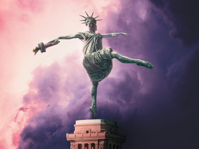 Dancing Liberty ballet photoshop pop art dance new york statue of liberty