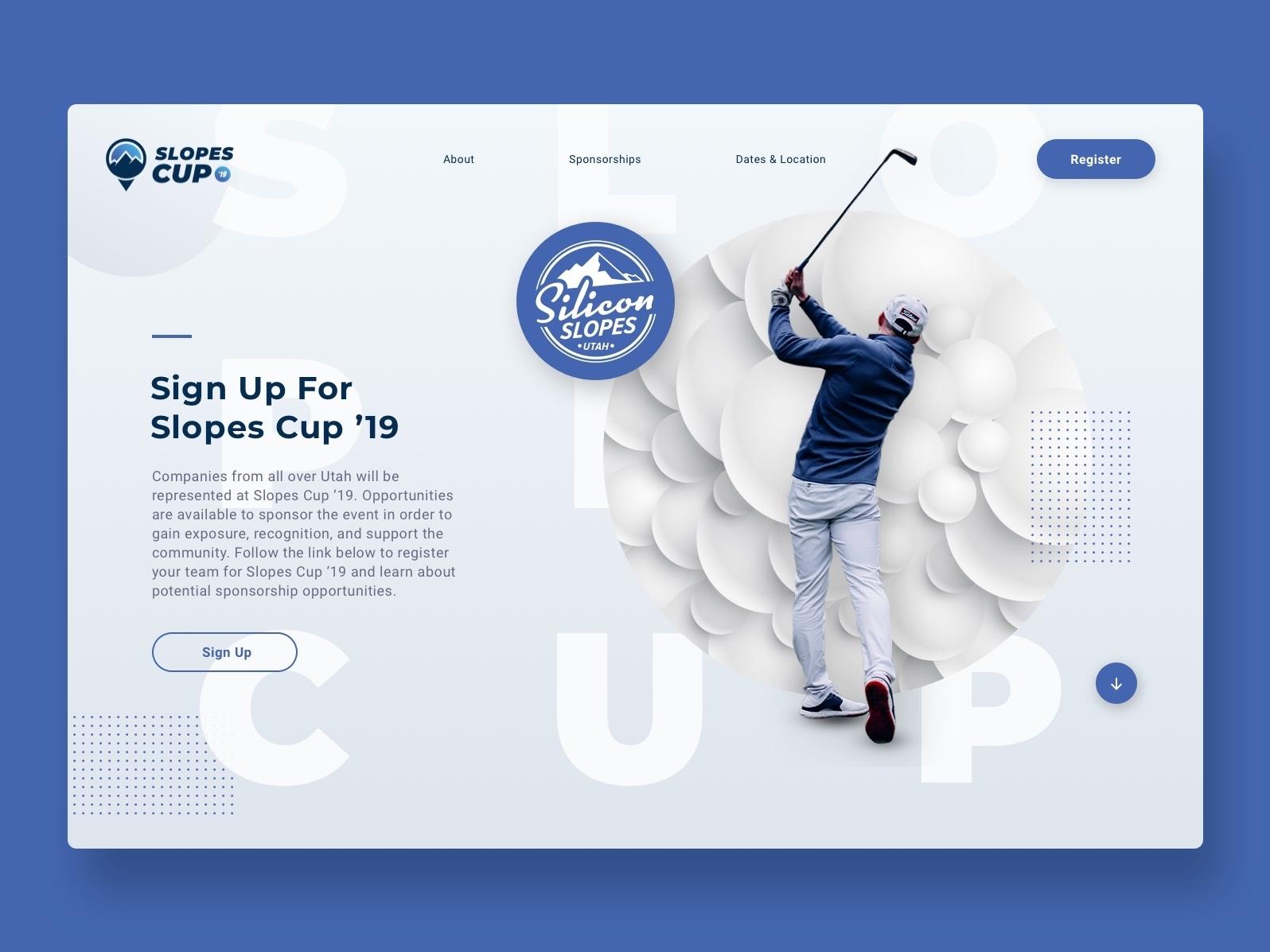 Slopes Cup Website sketch app sketch web design ssts20 ssts19 silicon slopes tech summit tech summit slopes cup golf website golf utah silicon slopes