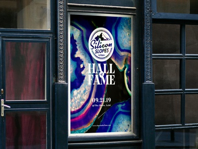 Silicon Slopes Hall of Fame Branded Poster logo design brand design hall of fame logo branding rock geode crystal poster