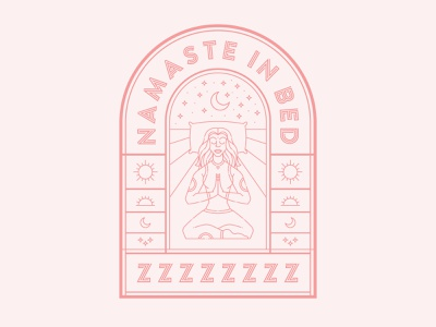 Namaste In Bed yoga night moon pilllow stars pink line line art bed sleep namaste