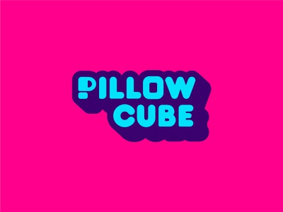 Pillow Cube Logo blue pink purple branding and identity logo design branding design colorful 3d mattress pillow branding logo