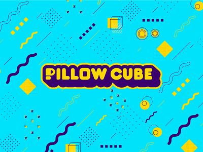 Pillow Cube Logo and Branding square cube smile logo mattress pillow memphis brand branding design logo design logo