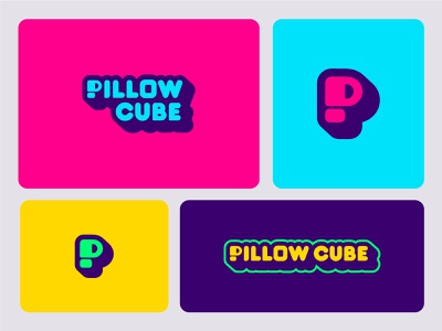 Pillow Cube Logos green yellow blue purple pink cube mattress pillow smile logo logo suite brand design logo design brand logo