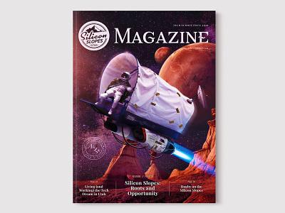 Silicon Slopes Magazine Cover Design - Tech Summit 2020 magazine cover cowboy space ship alien red rock pioneer nasa astronaut space tech silicon slopes magazine