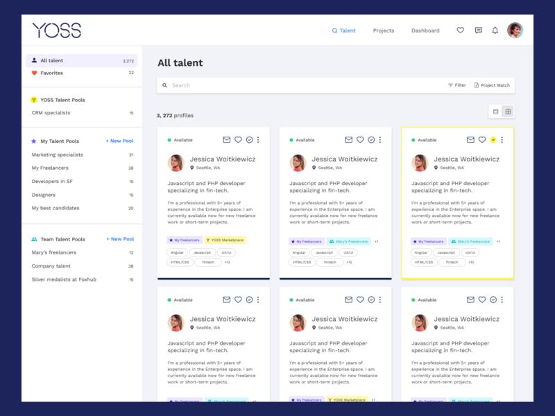 YOSS Talent Pools, a talent management system profile recruitment hr saas talentmanagement talent product product design