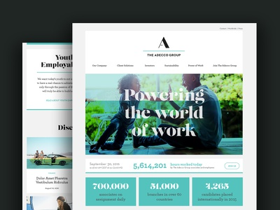 The Adecco Group Corporate Site Homepage web design homepage website corporate website