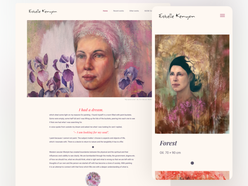 Website for Estelle Kenyon website gallery art rwd website design