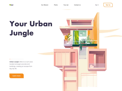 Urban Jungle - Landing Page animation landing minimal design illustration website web ux ui colors