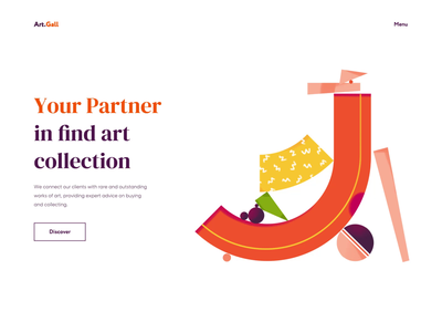 Landing Page - Online Art Gallery landing colors clean app illustration animation website minimal ux ui