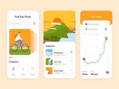 Mobile App - BikeMap product app map colors clean minimal illustration design ux ui mobile