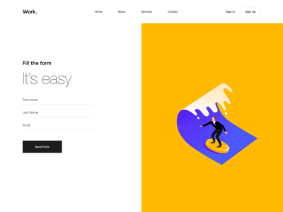 Web App - Work. animation website landing illustration web minimal design ux ui colors