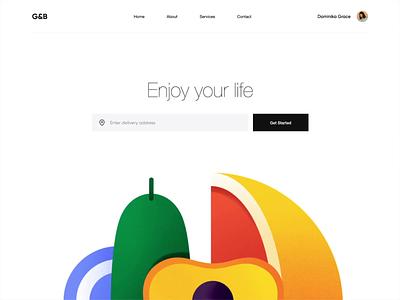 Web App - G&B design one page illustration clean animation website web minimal ux ui