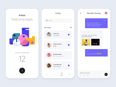 Mobile App - Misaki message app clean colors illustration design mobile ux ui