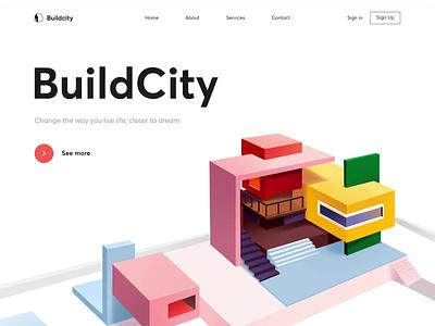 Landing Page - BuildCity website animation landing web illustration minimal design colors ux ui
