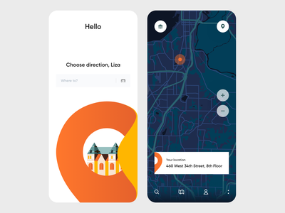 Mobile App - RoadMap minimal colors clean map illustration design mobile ux ui