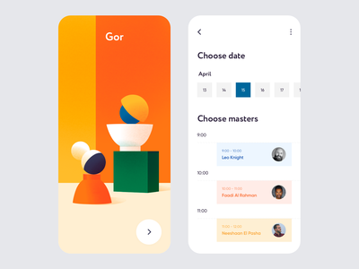Mobile App - Gor colors app mobile illustration minimal design ux ui clean