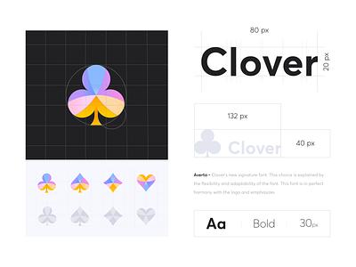 Branding logo - Clover project icon typography logo colors illustration minimal design ui ux branding