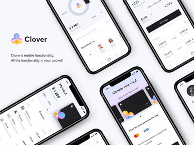 Mobile app - Clover application mobile ui branding logo illustration minimal design ux colors app mobile ui