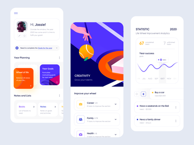 Year.ly - Mobile App ux colors application illustration minimal design app ui mobile clean