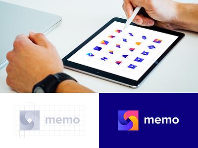 MEMO Logo Concept icon colors identity app logo logo mark graphic design vector logo design logo branding
