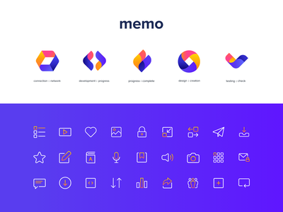 MEMO Custom iconography colors logo vector illustration minimal design iconography brand design brand identity icon branding