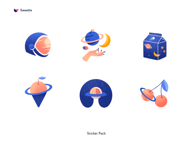 Sticker pack for Sweetle minimal colors clean brand design identity branding design brand stickers illustration design ui