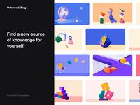 Outcrowd. Blog article blog app animation illustration minimal design colors clean ux ui