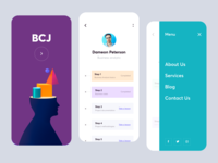 Mobile app - BCJ ux designs mobile design mobile ui app minimal design clean colors ui