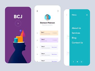 Mobile app - BCJ ux designs mobile design mobile ui app minimal design clean colors ui