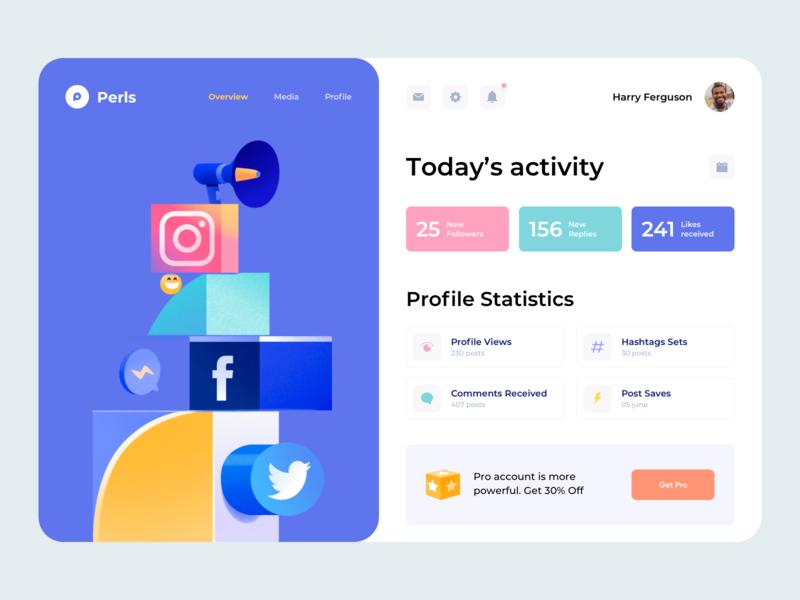 Web App - Perls network social colors ux dashboard app web illustration minimal design clean ui