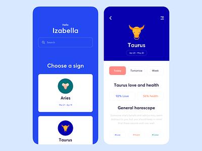 Mobile App - ASTROGUIDE minimal icon illustration horoscope design colors app mobile clean ui
