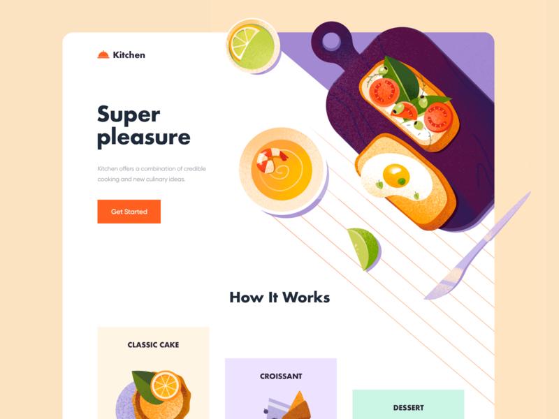 Landing page - Kitchen landing ui food website landing page clean colors illustration