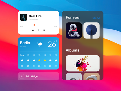 MacOS Big Sur Widgets mobile web macos desktop design desktop clean ui colors minimal design widgets widget