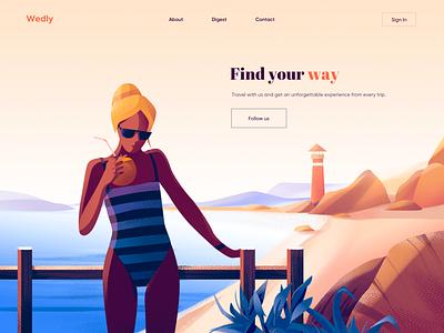 Landing Page - Wedly webdesign minimal design gradient colors illustration landing page landing website design web design website web