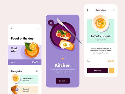 Mobile application - Kitchen product design app colors clean mobile application design mobile app design mobile design mobile app minimal design illustration