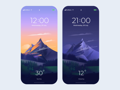 Mobile App - Weather Lock Screen application application design mobile ui animation motion minimal design mobile app design mobile design mobile app mobile colors clean illustration