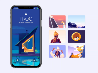 Mobile Wallpapers Set - Outcrowd colors mobile design clean animation app motion illustration minimal ux ui