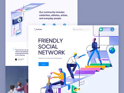 Connect - Web App page design clean website web illustration minimal ux ui colors