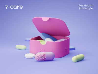 Pill Case Design - 7 Care colors clean design minimal packaging design package design packaging branding and identity brand identity branding design brand design brand branding 3d modeling 3d rendering 3d render 3d