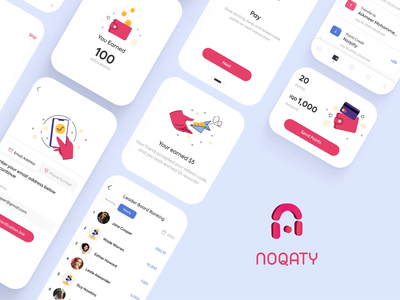 Noqaty - Cashback Mobile App 2d 2d art animation illustration design illustration mobiledesign uxdesign uiuxdesign uiux ux ui webdesign mobile application mobile app mobile design
