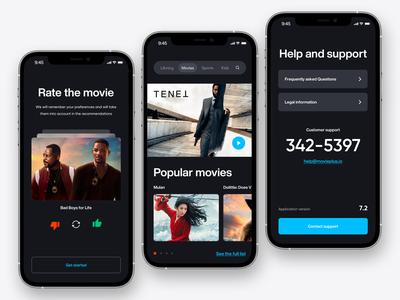 Mobile Application - Movie Plus minimaldesign uiux minimal ui ux mobile application mobiledevelopment mobiledesign design webdesign mobile app